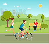 Man riding a bicycle Young man sitting on the bench and Running girl in the park. Vector flat illustration