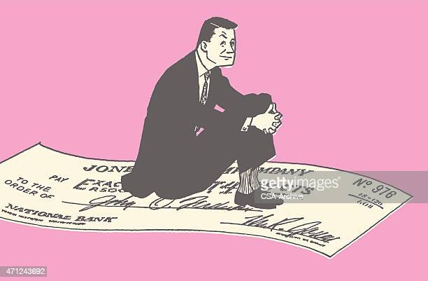 man riding a check in the sky - paycheck stock illustrations, clip art, cartoons, & icons