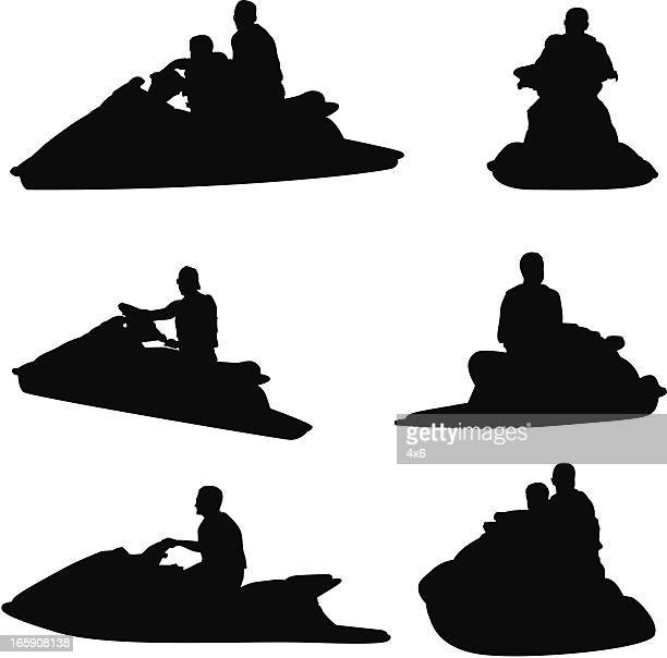 man riding a jet ski - motorboating stock illustrations, clip art, cartoons, & icons