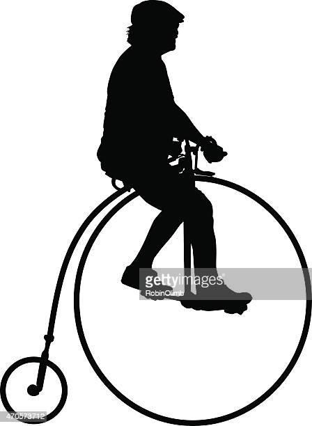 mann auf fahrrad - 19. jahrhundert stock-grafiken, -clipart, -cartoons und -symbole