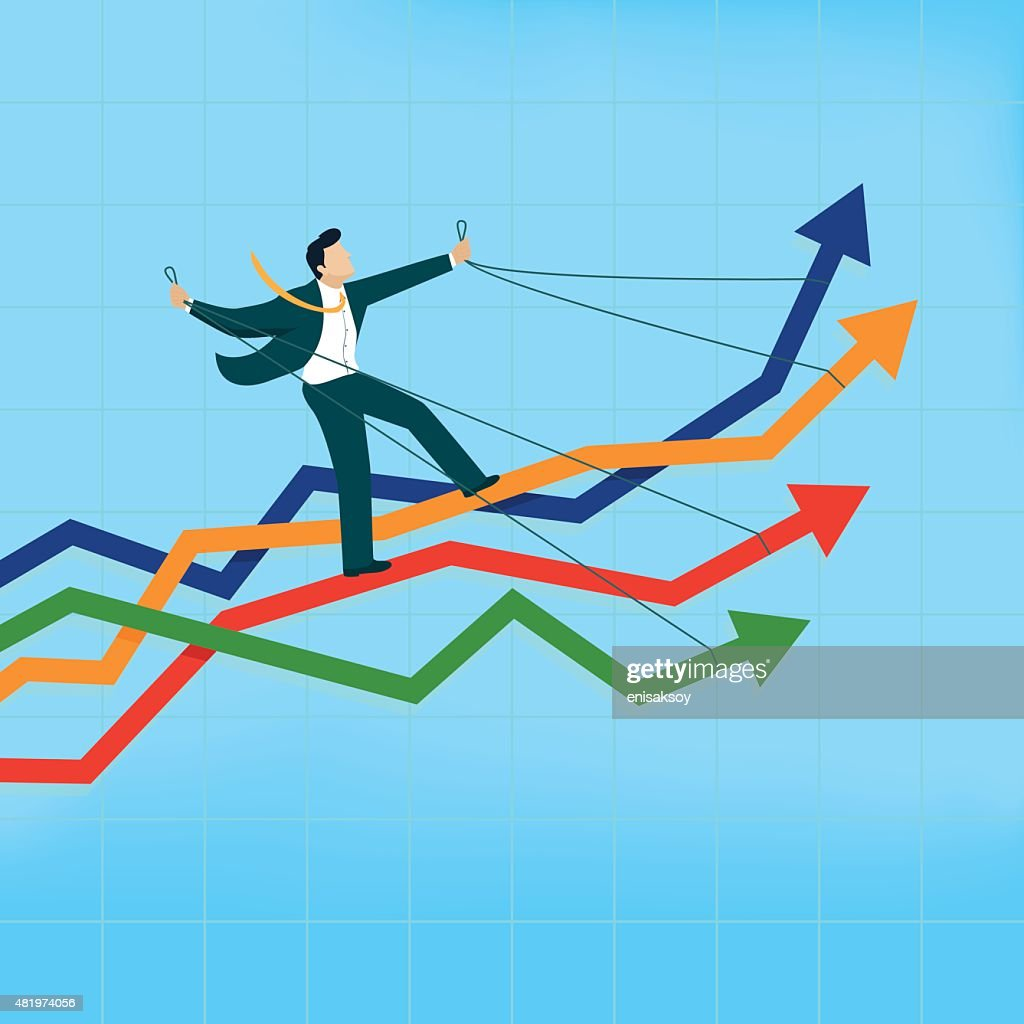 Man riding many arrows at the same time : stock illustration