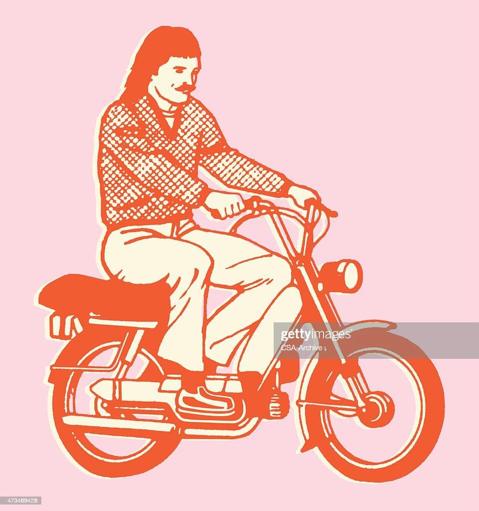 Man Riding Scooter : stock illustration