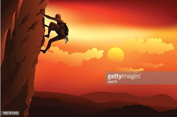 man rock climbing - rock climbing stock illustrations, clip art, cartoons, & icons