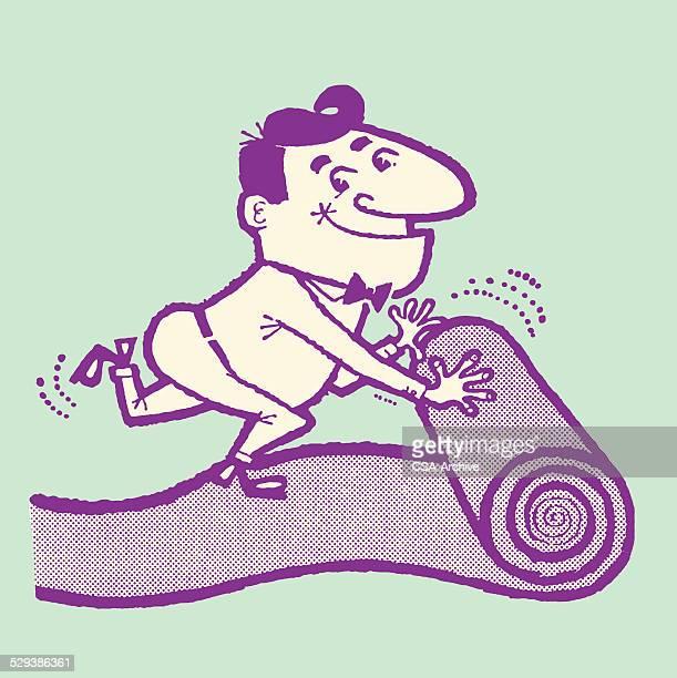 Man Rolling Out Carpet