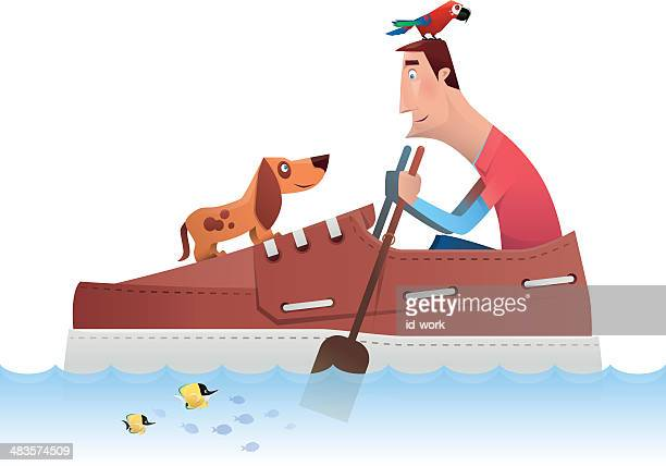 man rowing with big shoe - butterflyfish stock illustrations, clip art, cartoons, & icons