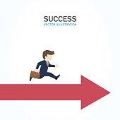 Man run forward on the arrow. Success Concept.