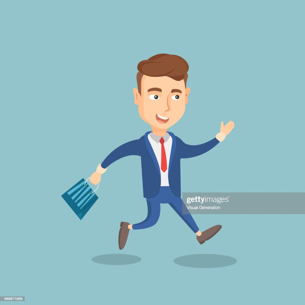 Man running in a hurry to the store on sale