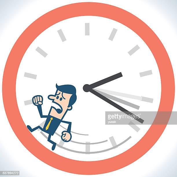 Man running in the clock