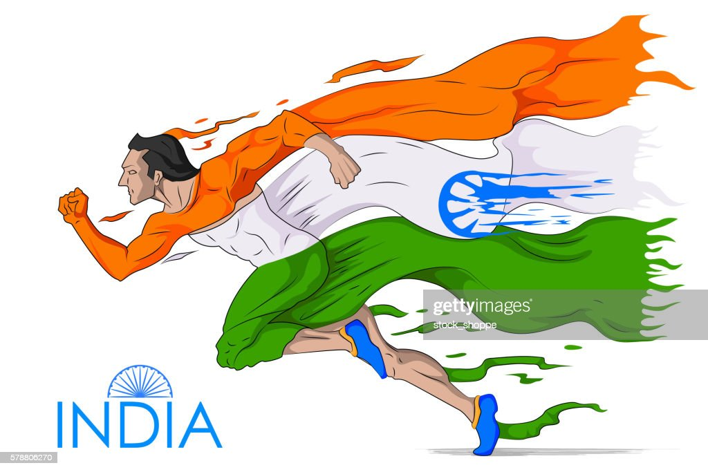 Man running in tricolor Indian flag