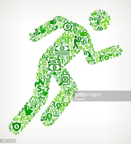 Man Running Money and Finance Green Vector Icon Background