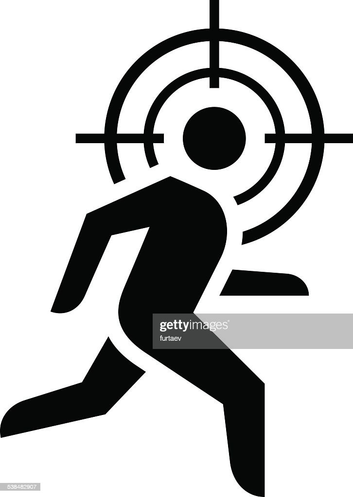 Man running under crosshair icon