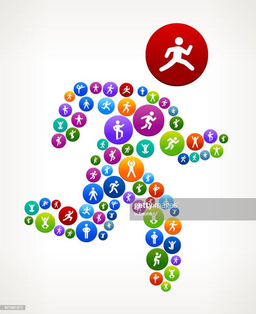 Man Running  Wellness Active Lifestyle Vector Button Pattern : stock illustration