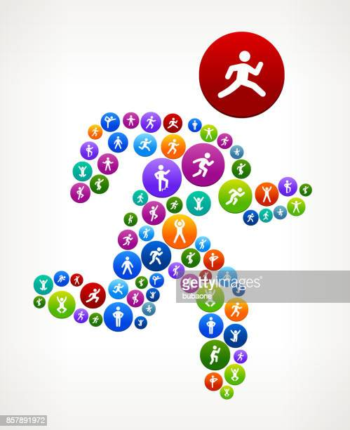 man running  wellness active lifestyle vector button pattern - body conscious stock illustrations, clip art, cartoons, & icons