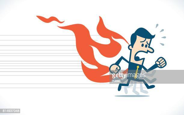 Man running with back on fire