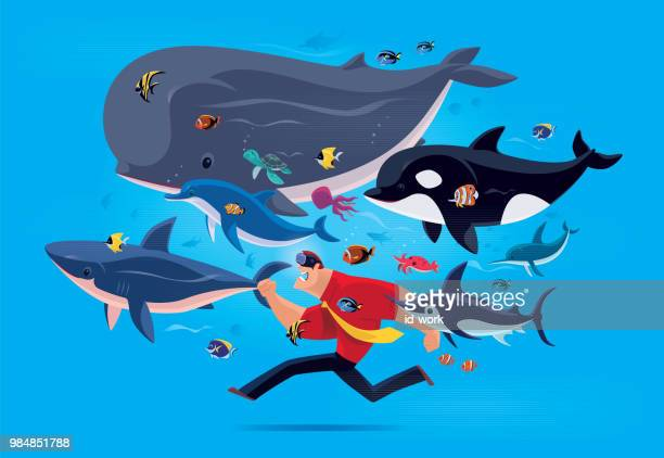 man running with sea creatures via vr goggles - anemonefish stock illustrations, clip art, cartoons, & icons