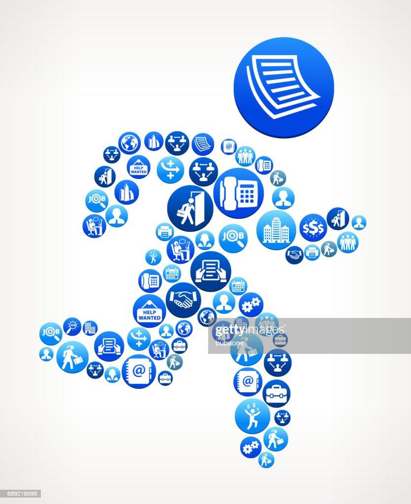Man Running Work and Employment Blue Vector Button Pattern : Stock Illustration