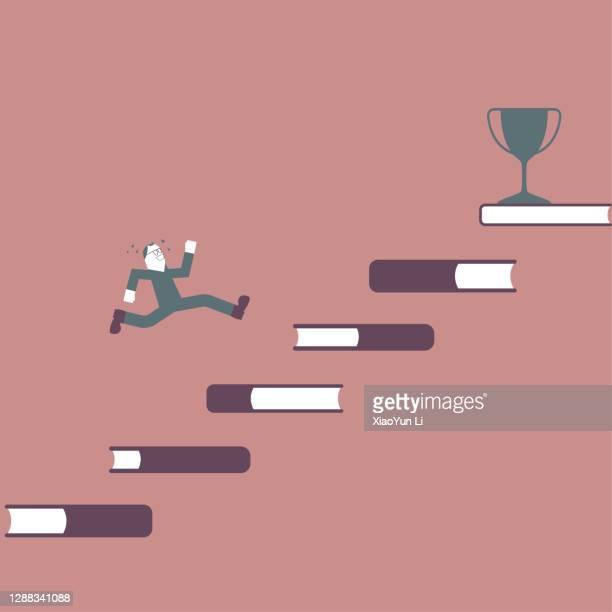 illustrations, cliparts, dessins animés et icônes de un homme court vers le trophée depuis les escaliers du livre. - littérature
