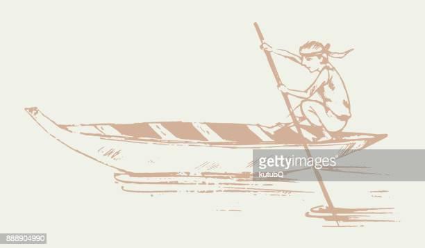Mann auf Boot segeln. Hand gezeichnet Vektor Illustration