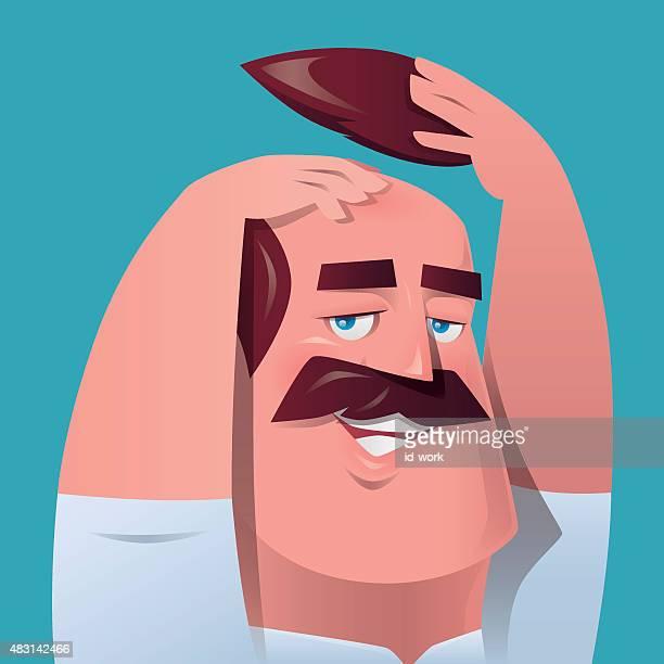 man scratching head - balding stock illustrations, clip art, cartoons, & icons