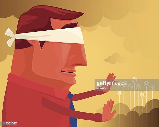 ilustraciones, imágenes clip art, dibujos animados e iconos de stock de hombre búsqueda y captura - ojos tapados