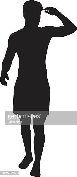 man shading eyes with hand silhouette - swimwear stock illustrations, clip art, cartoons, & icons