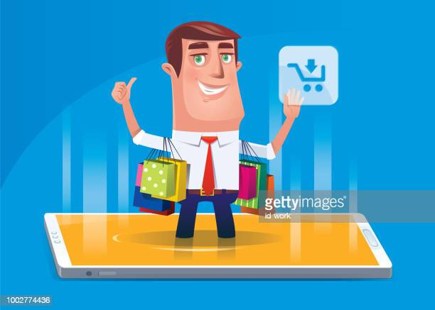 man shopping via smartphone