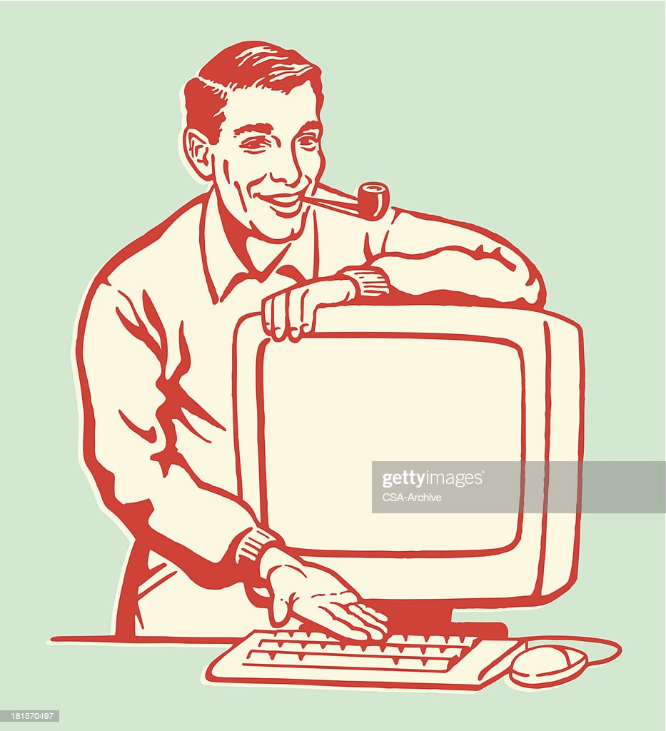 Man Showing Personal Computer : stock illustration
