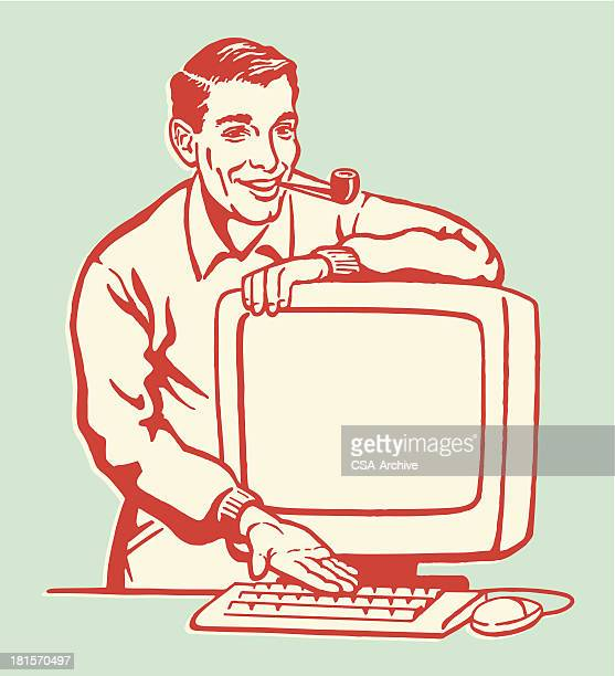 man showing personal computer - retro style stock illustrations