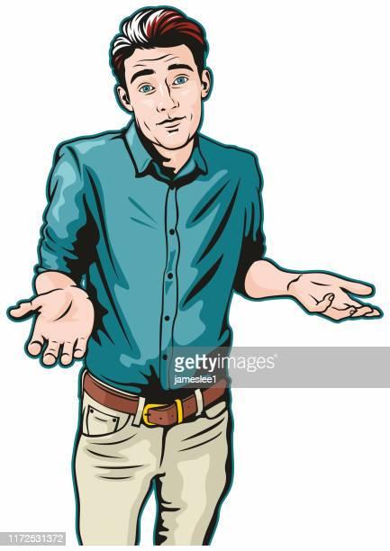 ilustraciones, imágenes clip art, dibujos animados e iconos de stock de man shrugging - encogerse de hombros
