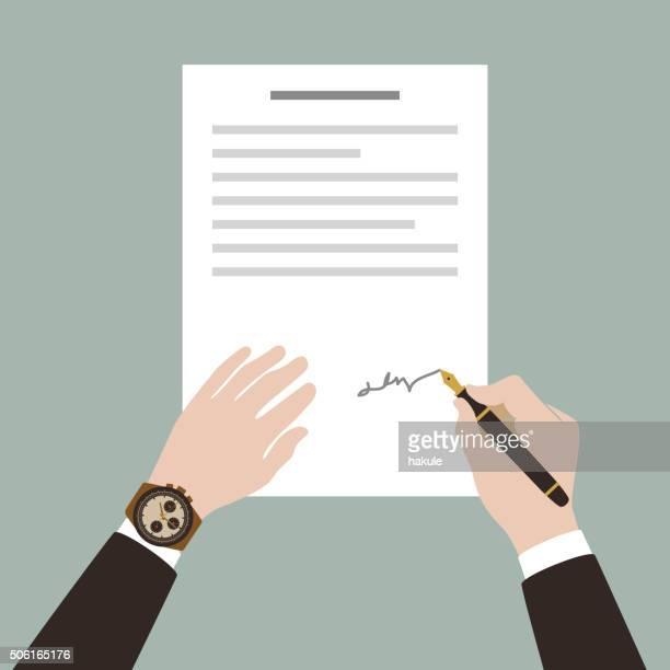 ilustraciones, imágenes clip art, dibujos animados e iconos de stock de hombre firmar el contrato con lápiz - firma