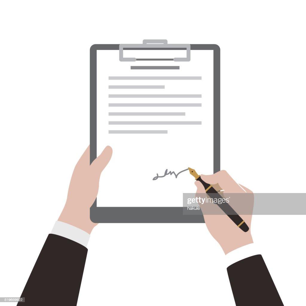 Mann mit Stift Vertrag unterzeichnen : Stock-Illustration