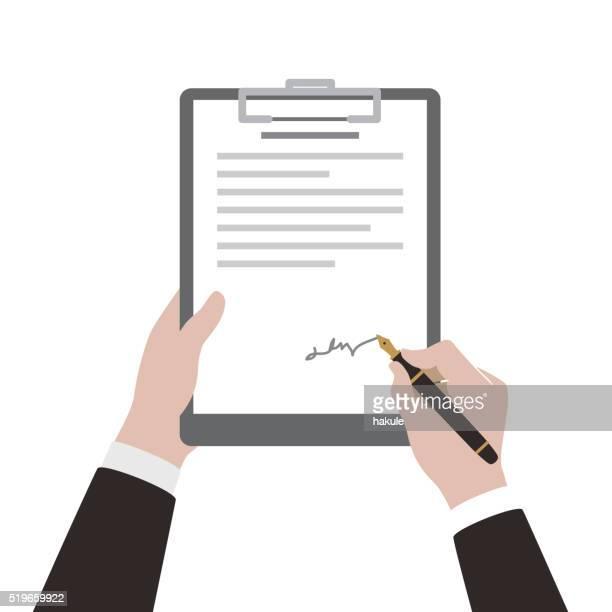 ilustrações, clipart, desenhos animados e ícones de homem de assinar contrato usando caneta - assinatura