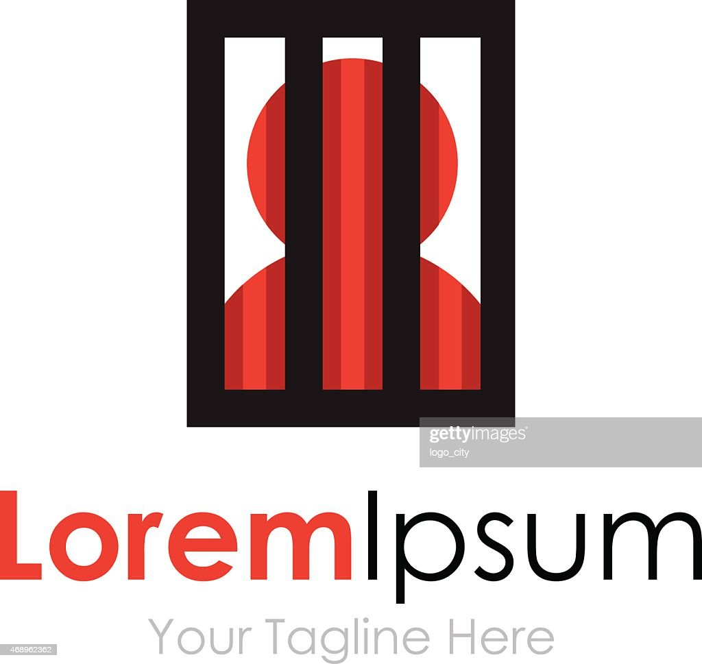 Man silhouette behind bars simple business icon logo
