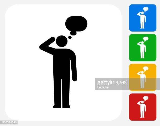 Man Silhouette Thinking Icon Flat Graphic Design
