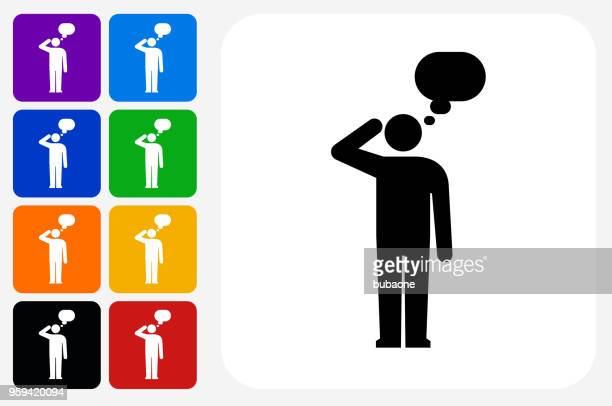 man silhouette thinking icon square button set - contemplation stock illustrations, clip art, cartoons, & icons