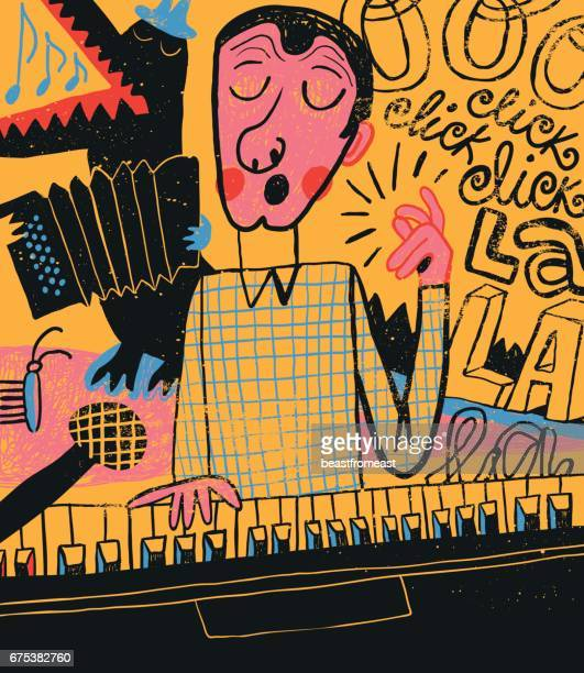 man singing and playing piano - accordion instrument stock illustrations