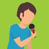 man singing isolated icon design