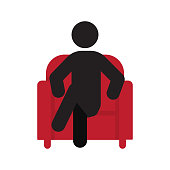 Man sitting in armchair icon
