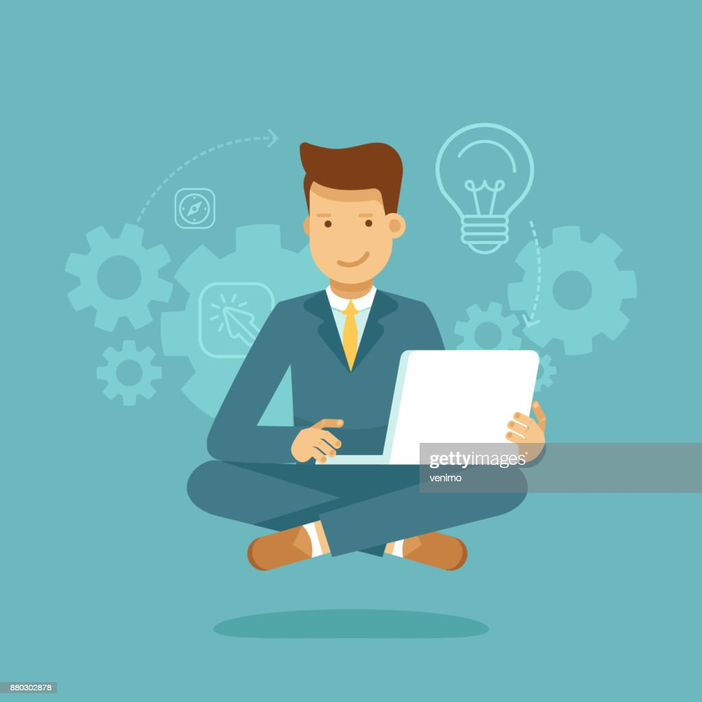 Man sitting in lotus pose with laptop - freelance or outsource worker