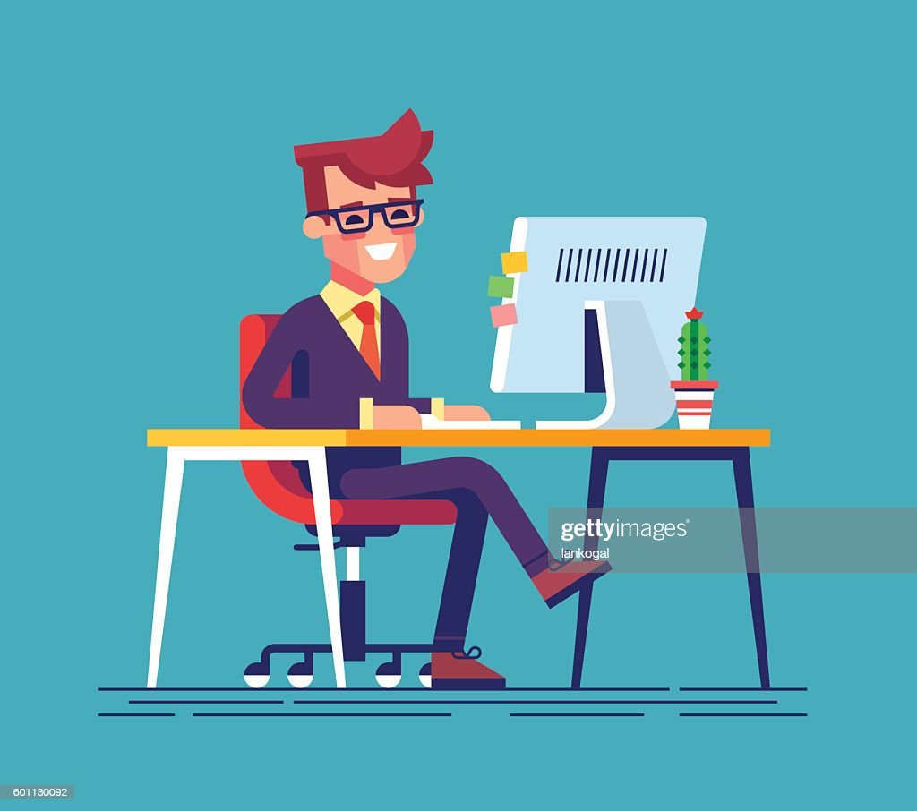 Man sitting legs crossed and typing something