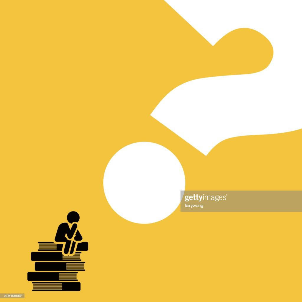 Man sitting on books pile thinking