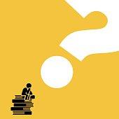 Man sitting on books pile thinking