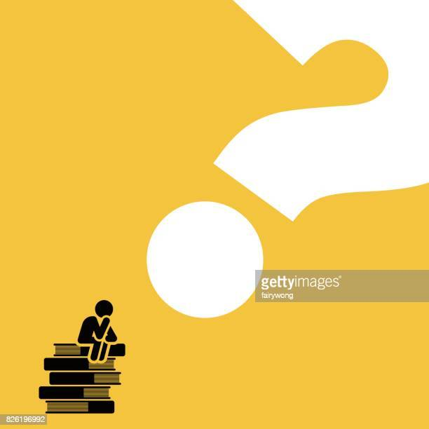 man sitting on books pile thinking - question mark stock illustrations