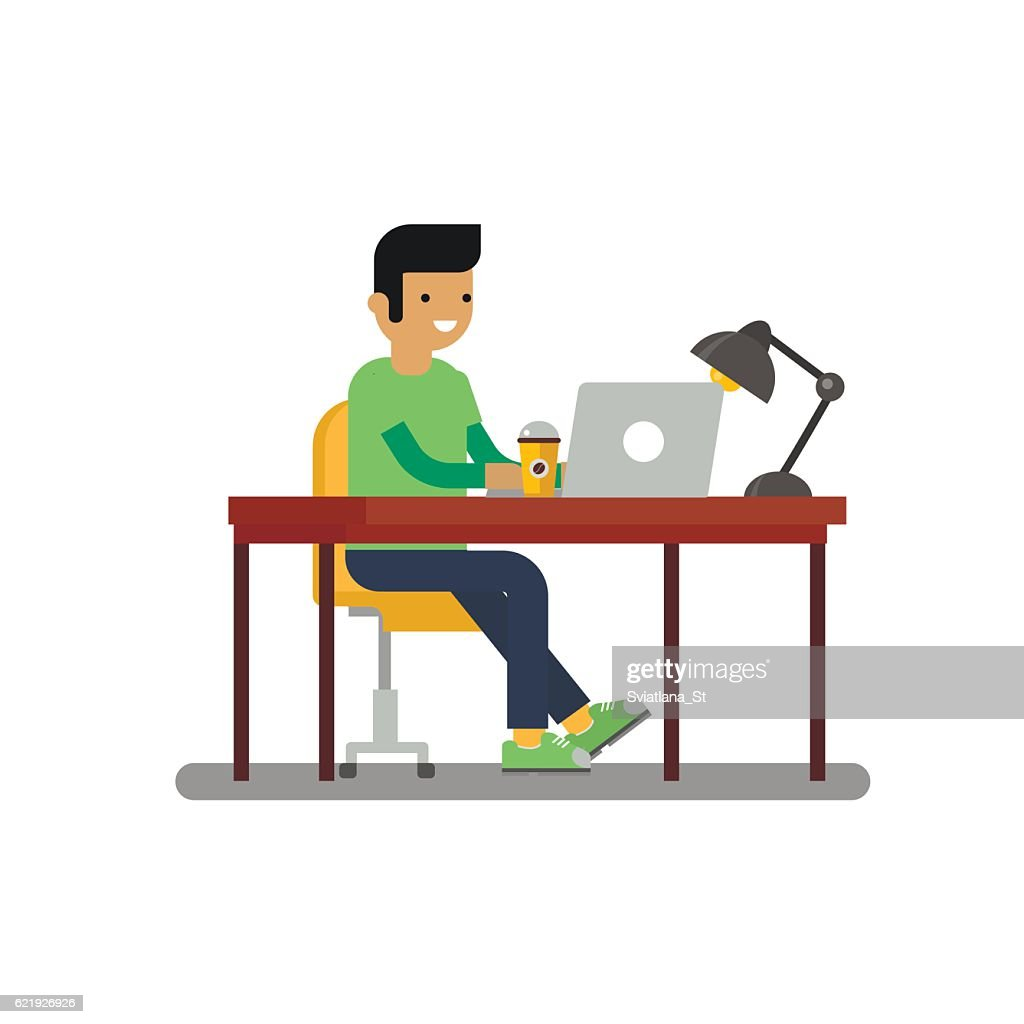 Man sitting on chair at table.Designer at work.