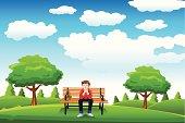 Man sitting on the bench thinking