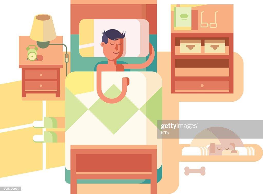 Man sleep in bed