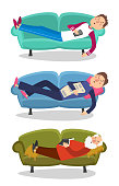 Man sleep on sofa vector illustration. Sleeping young and old men  couch character person