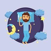 man sleeping and taking good night