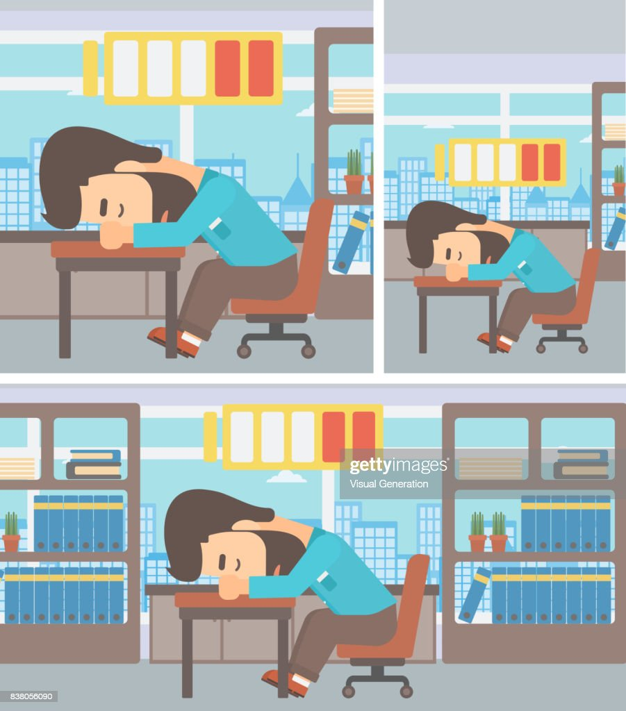 Man sleeping at workplace vector illustration