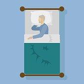 Man sleeping in bed vector illustration